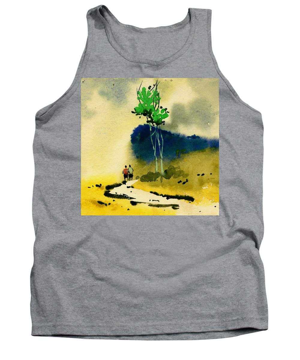 Landscape Tank Top featuring the painting Buddies by Anil Nene