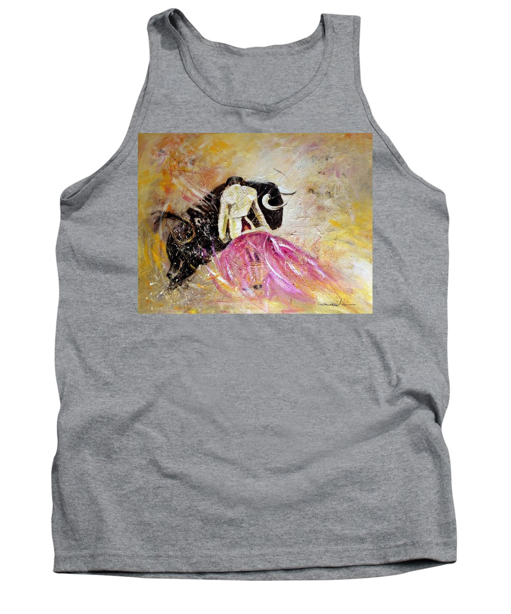 Animals Tank Top featuring the painting Bullfight 74 by Miki De Goodaboom