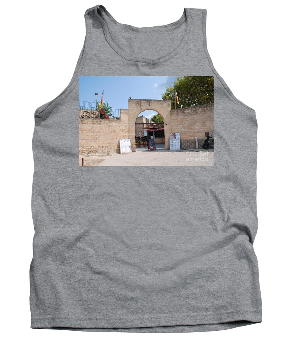 Alcudia Tank Top featuring the photograph Bullring Entrance In Alcudia by David Fowler