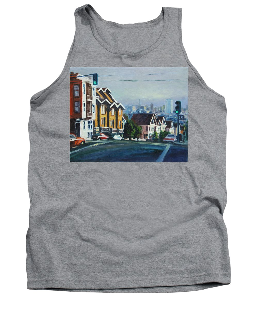 Cityscape Tank Top featuring the painting Bush Street by Rick Nederlof