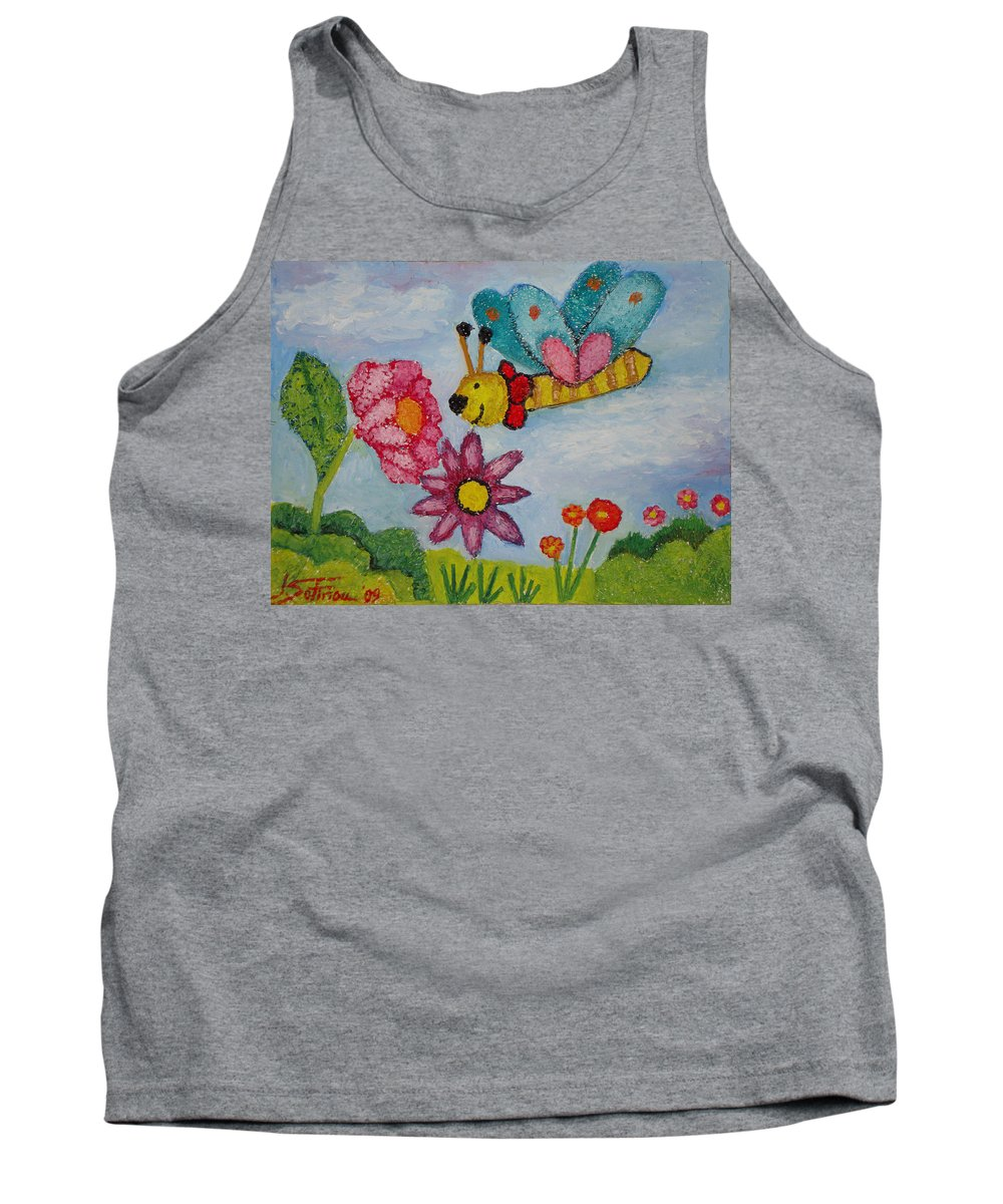 Landscape Tank Top featuring the painting Butterfly In The Field by Ioulia Sotiriou