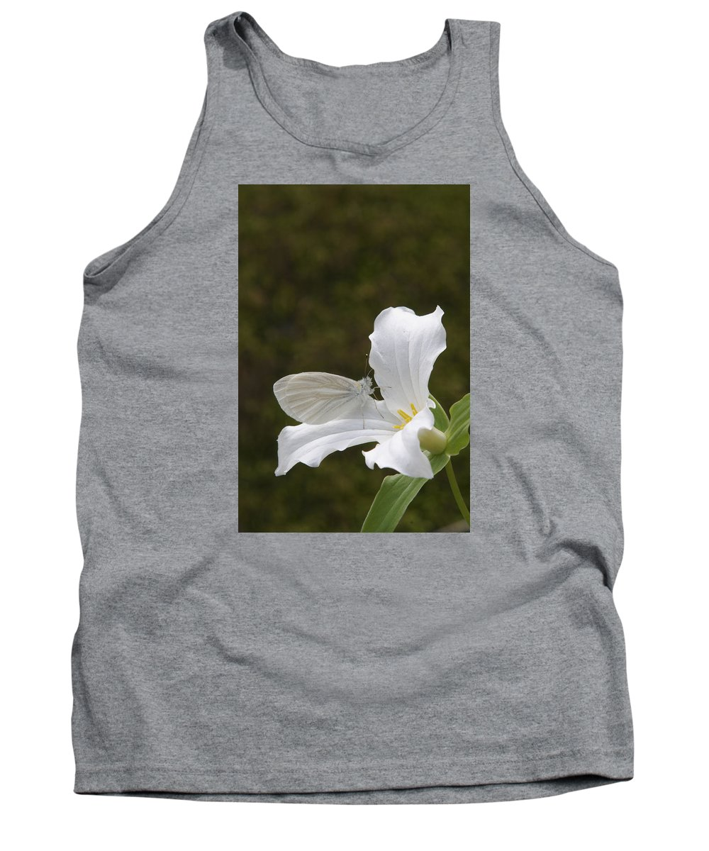 White Tank Top featuring the photograph Butterfly On Trillium by Harold Stinnette