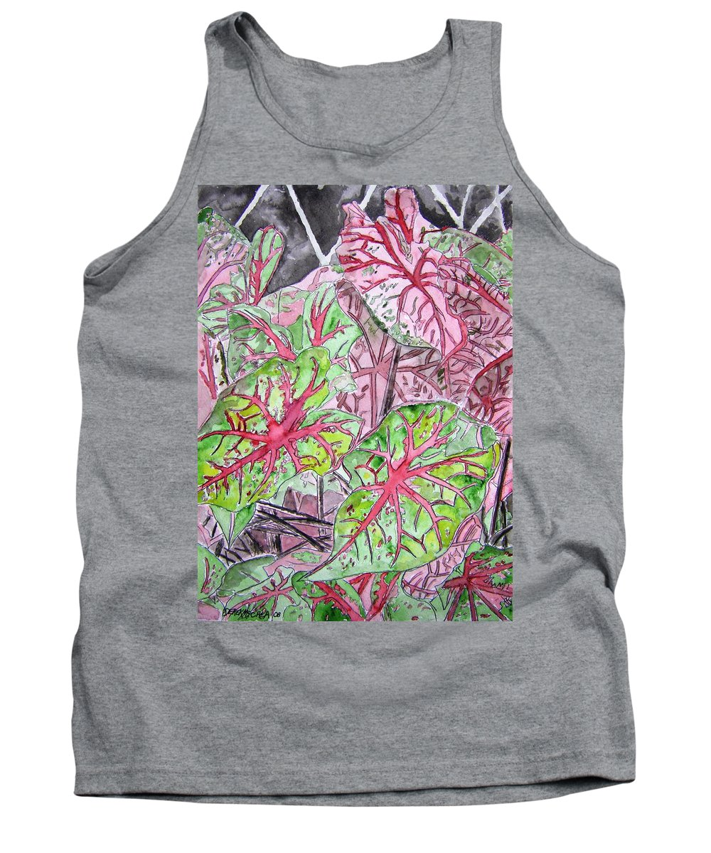 Watercolour Tank Top featuring the painting Caladiums tropical plant art by Derek Mccrea