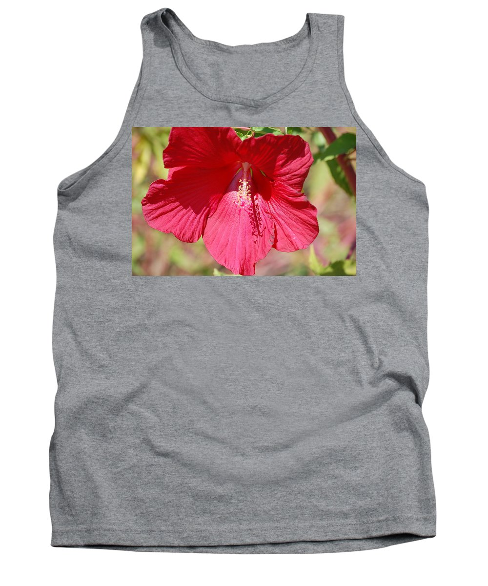 Red Tank Top featuring the photograph Call Me Red by Linda Benoit