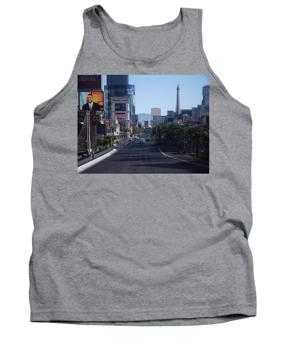 Las Vegas Tank Top featuring the photograph Calm On Vegas Strip by Andrew Bassett