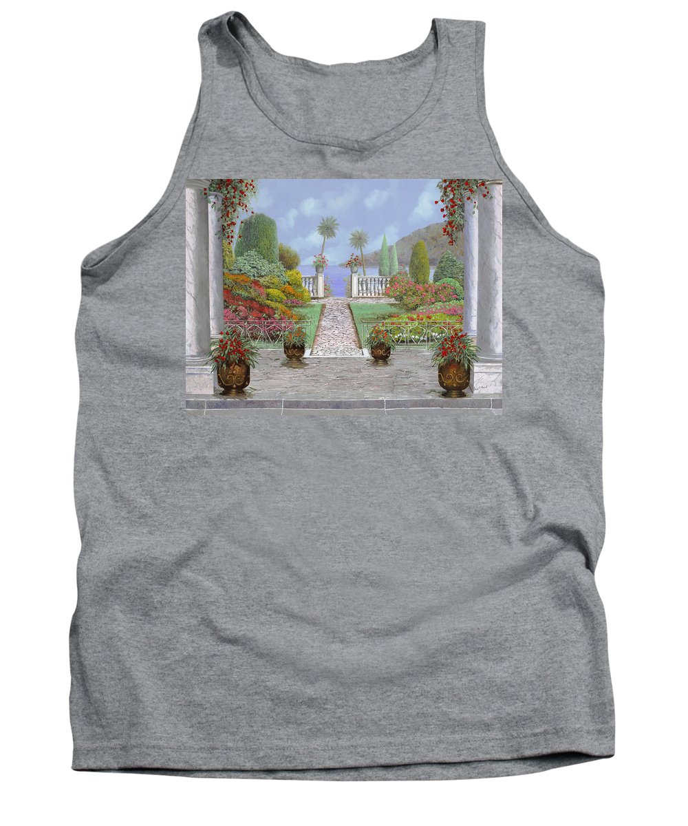 Lake Tank Top featuring the painting Camminando Verso Il Lago by Guido Borelli