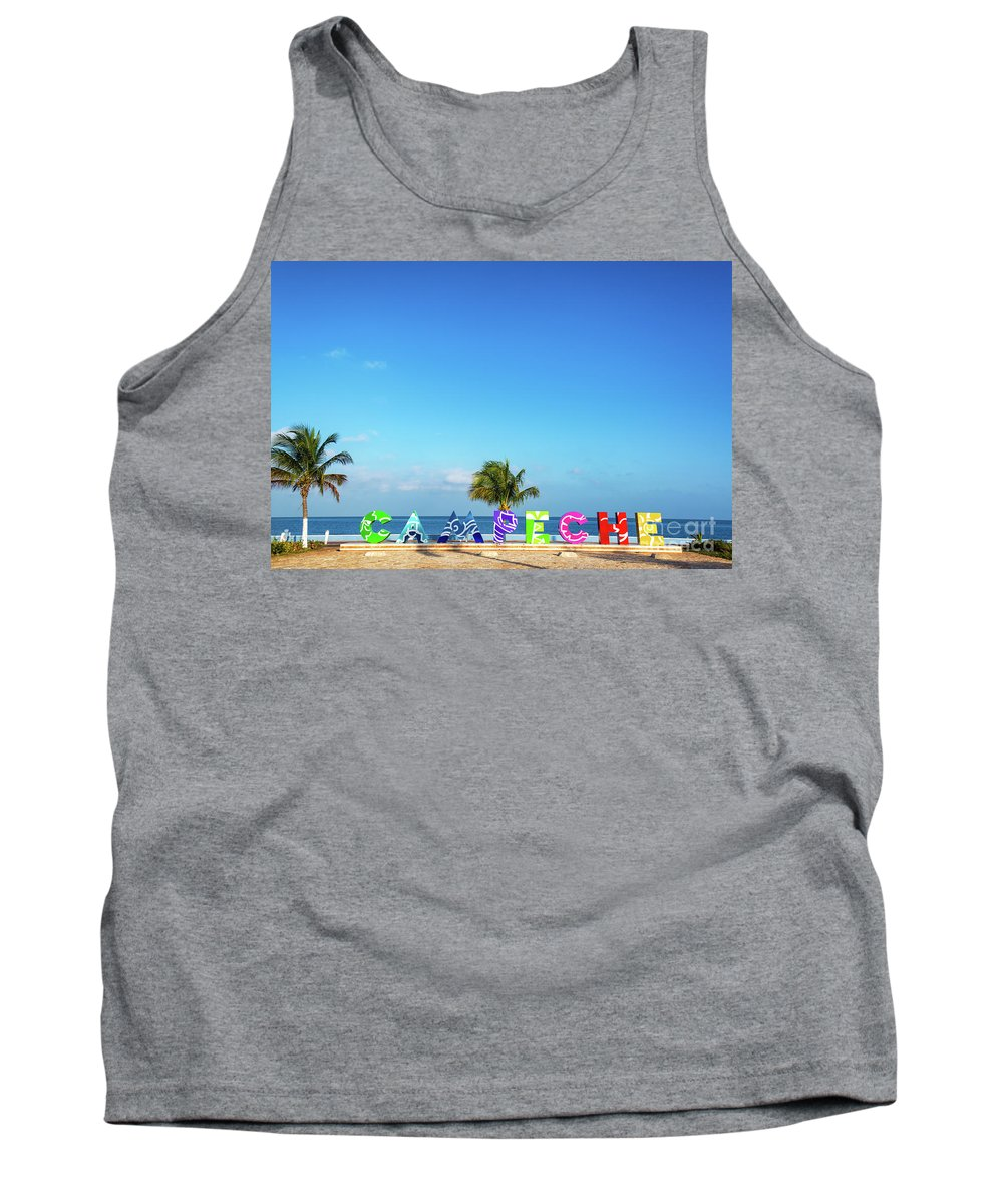 Campeche Tank Top featuring the photograph Campeche Sign And Sea by Jess Kraft
