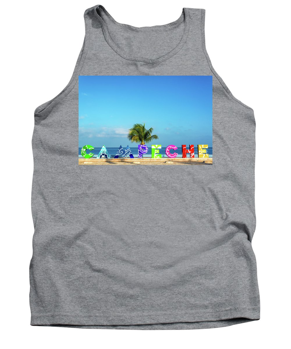 Campeche Tank Top featuring the photograph Campeche Sign And Sea View by Jess Kraft