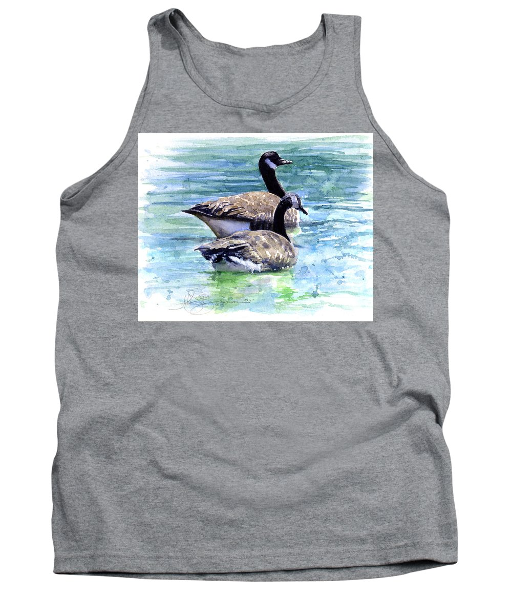Canada Tank Top featuring the painting Canada Geese by John D Benson