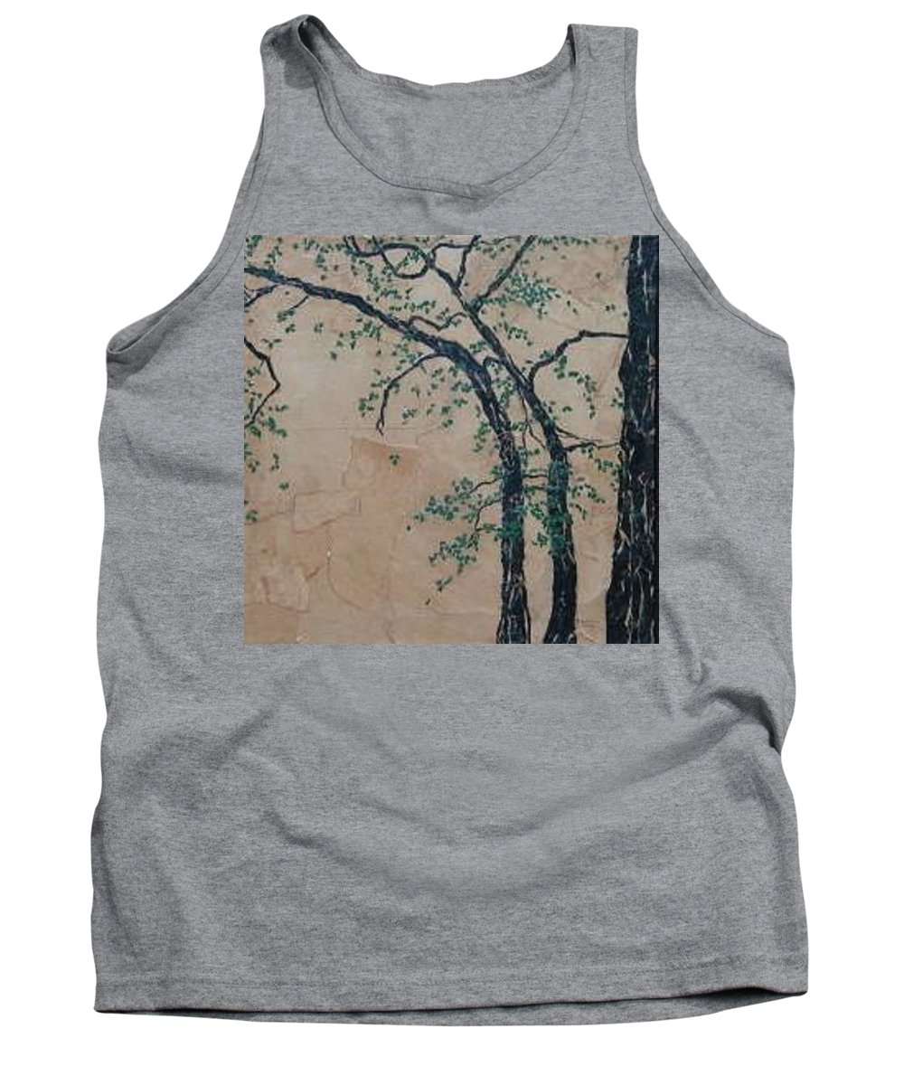 Leafy Tree Tank Top featuring the painting Canandaigua Lake by Leah Tomaino
