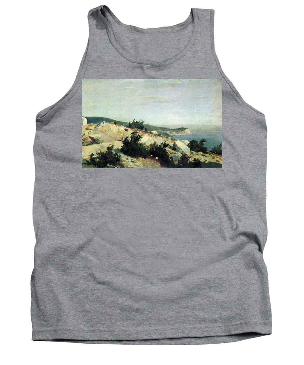 Mountain Tank Top featuring the digital art Cape Ai-todor Crimea 1879 21h33 5 Ivan Ivanovich Shishkin by Eloisa Mannion