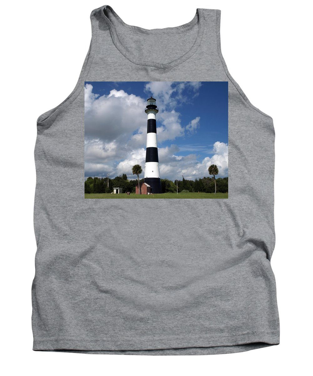 Lighthouse; Light; Canaveral; Cape; Cape Canaveral; Ccafs; Florida; East; Coast; Kennedy; Space; Cen Tank Top featuring the photograph Cape Canaveral Light Florida by Allan Hughes