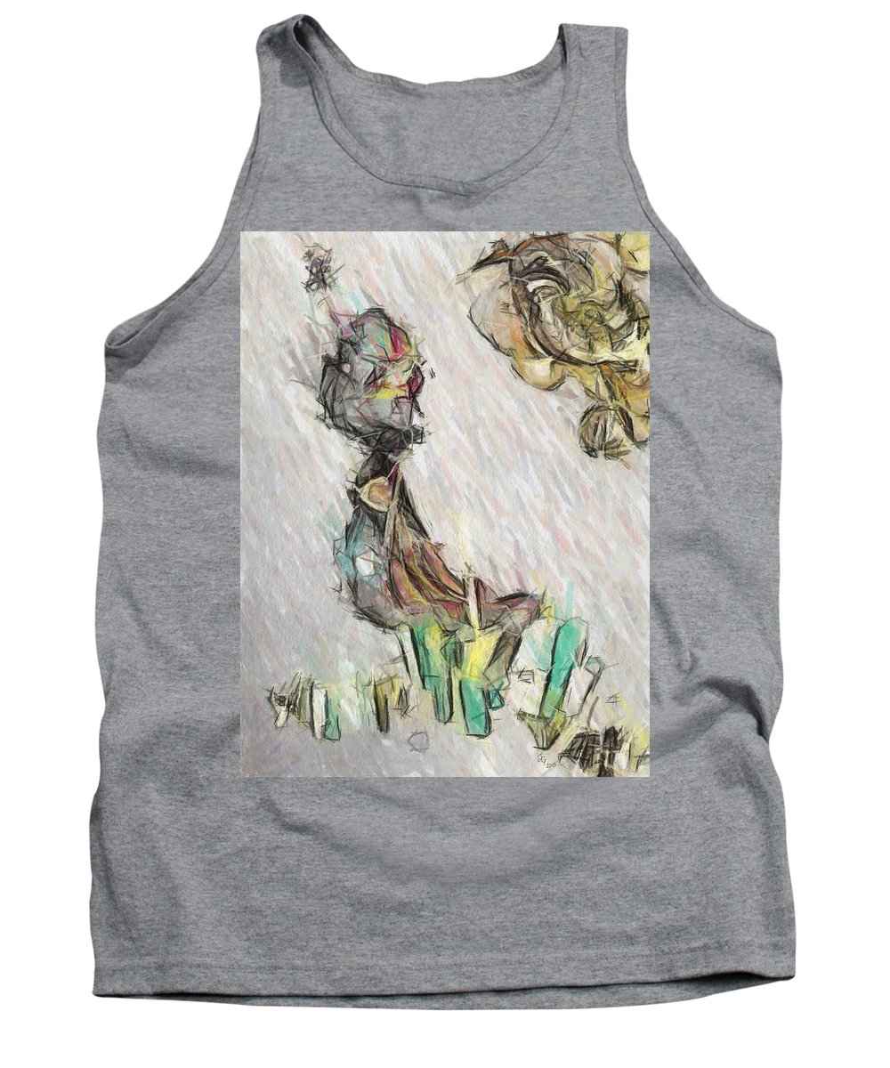 Drawing Tank Top featuring the digital art Captivate by Johanna G