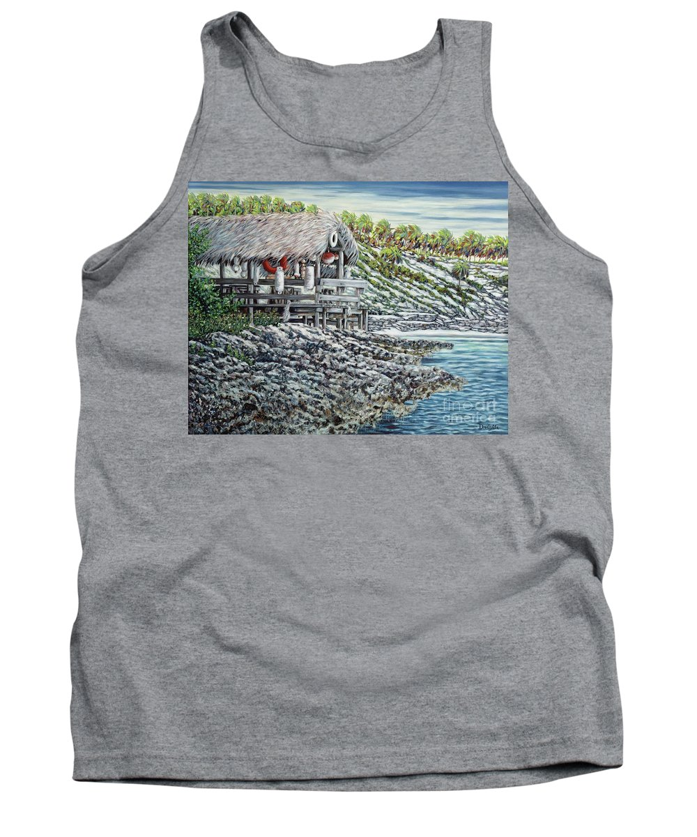 Palm Thatch Tank Top featuring the painting Carefree Hideaway by Danielle Perry
