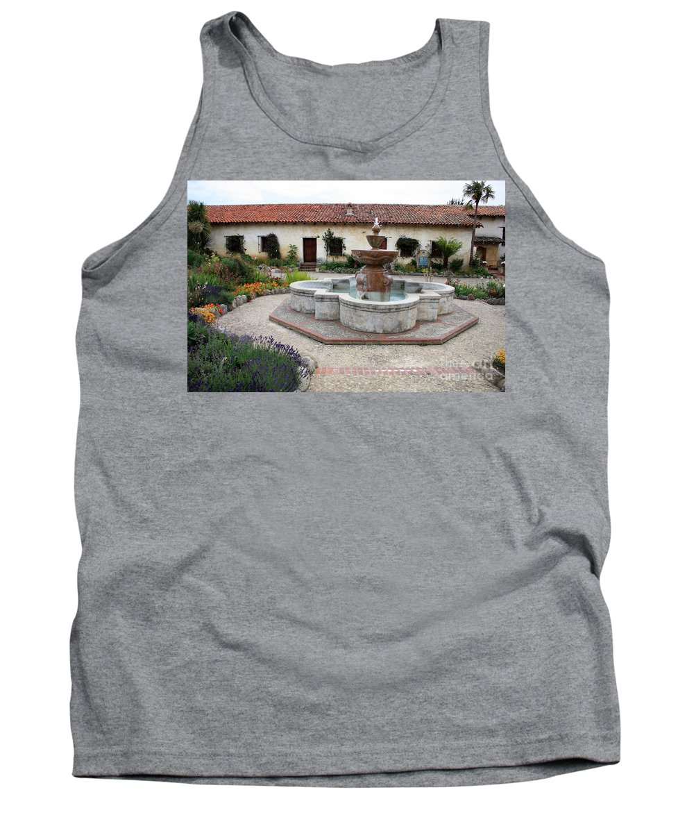 Catholic Tank Top featuring the photograph Carmel Mission Courtyard by Carol Groenen