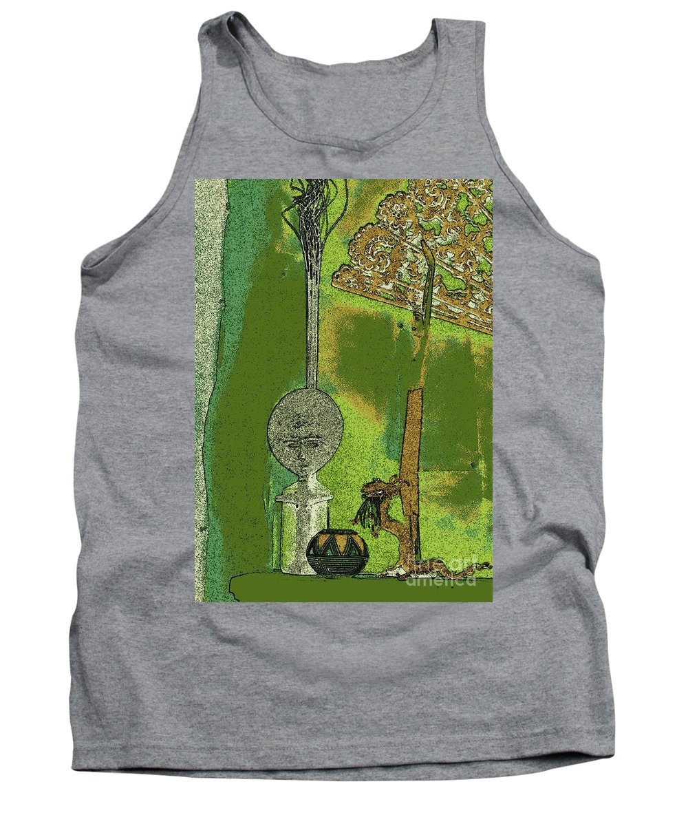 Navajo Pottery Tank Top featuring the painting Cartoon Altar Of The Exotic #3 by Jayne Somogy