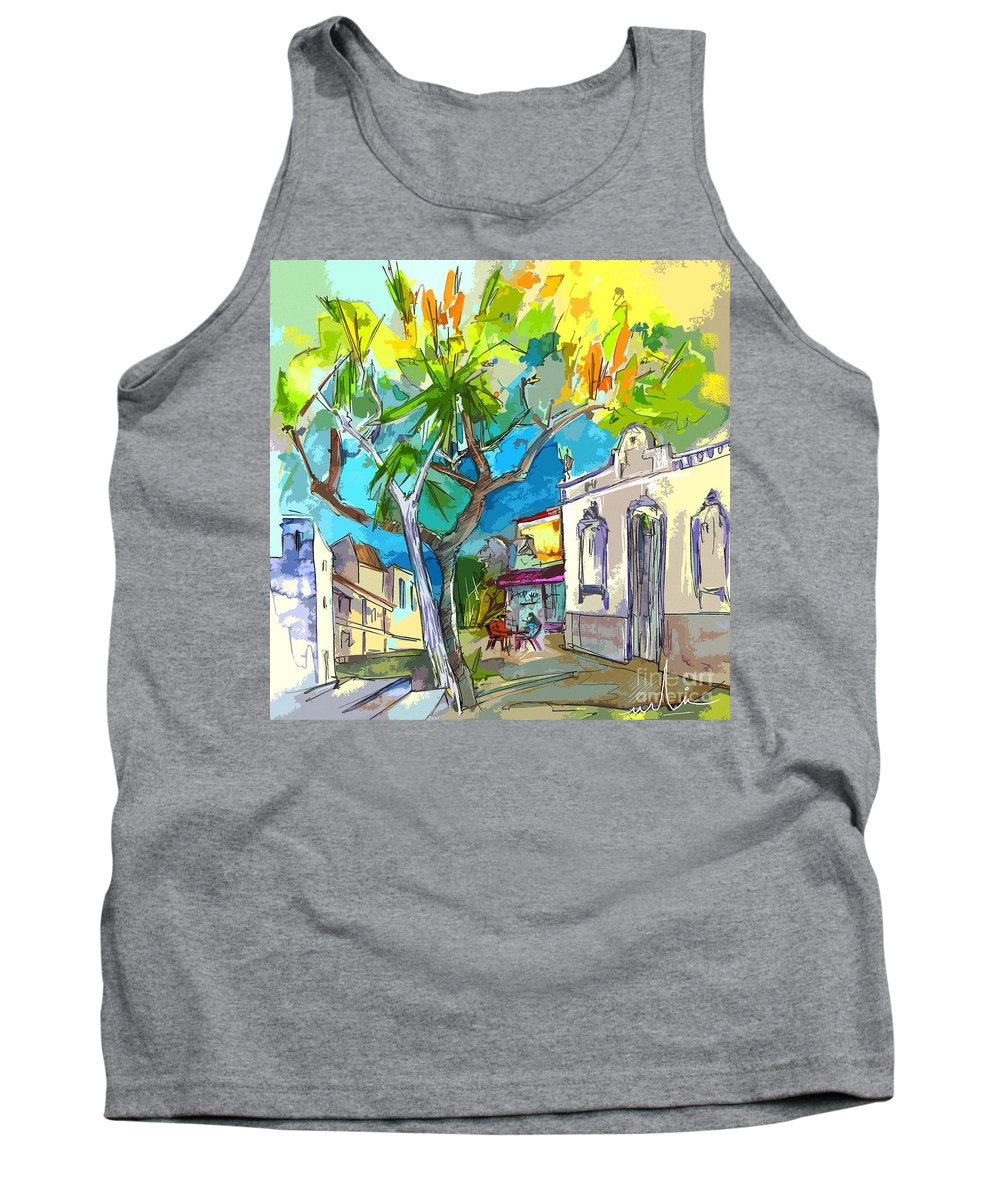 Castro Marim Portugal Algarve Painting Travel Sketch Tank Top featuring the painting Castro Marim Portugal 14 Bis by Miki De Goodaboom