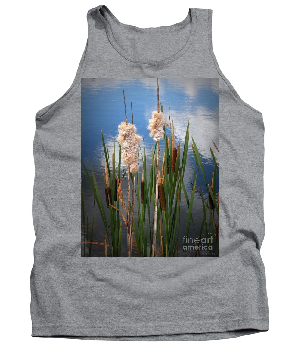 Ponds Tank Top featuring the photograph Cat Tails by Gail Salitui