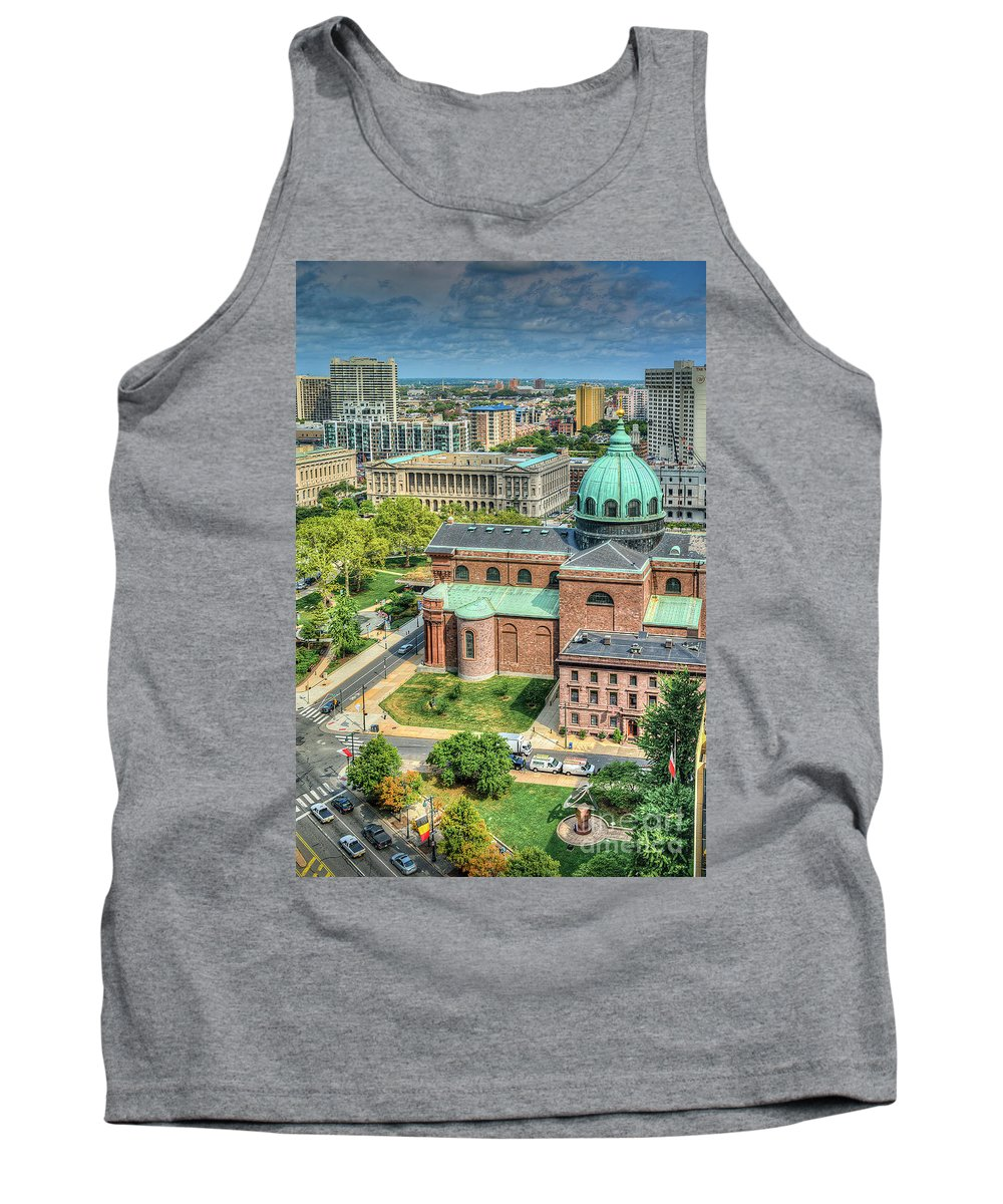 Penn Center Tank Top featuring the photograph Cathedral Basilica Of Saints Peter And Paul Philadelphia by David Zanzinger