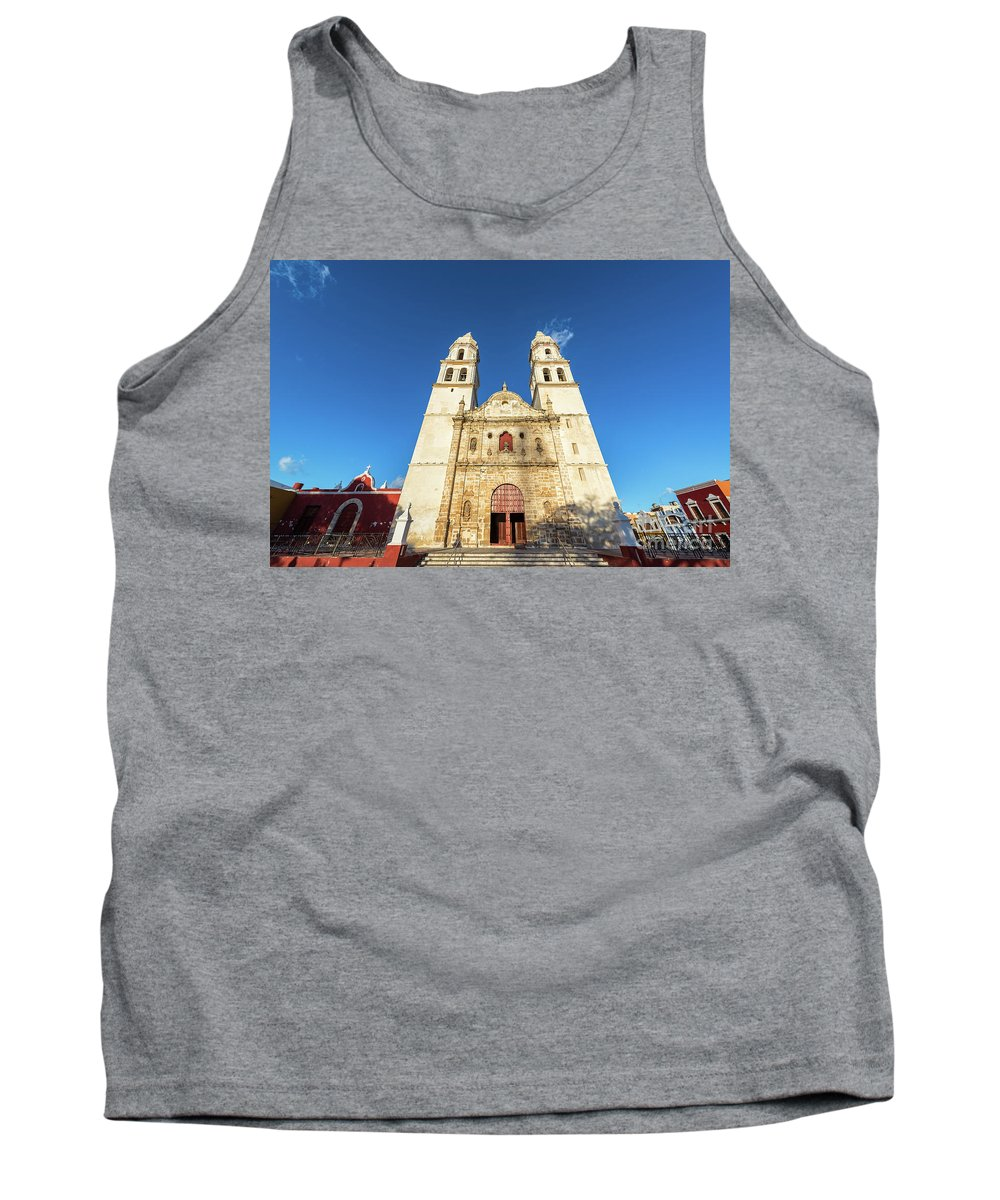 Campeche Tank Top featuring the photograph Cathedral In Campeche by Jess Kraft