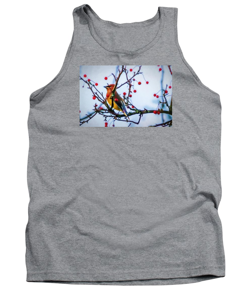 Cedar Waxwing Tank Top featuring the photograph Cedar Waxwing Painting by Trent Garverick