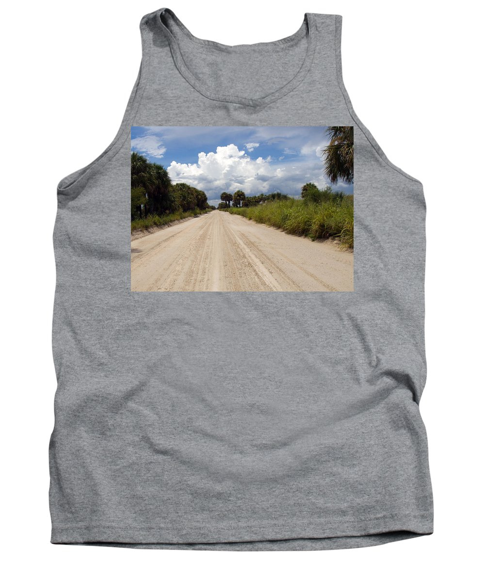 Florida; Road; Back; Backroad; Central; Dirt; Plow; Plowed; Clay; Mud; Muddy; Places; Unknown; Trave Tank Top featuring the photograph Central Florida Back Road by Allan Hughes