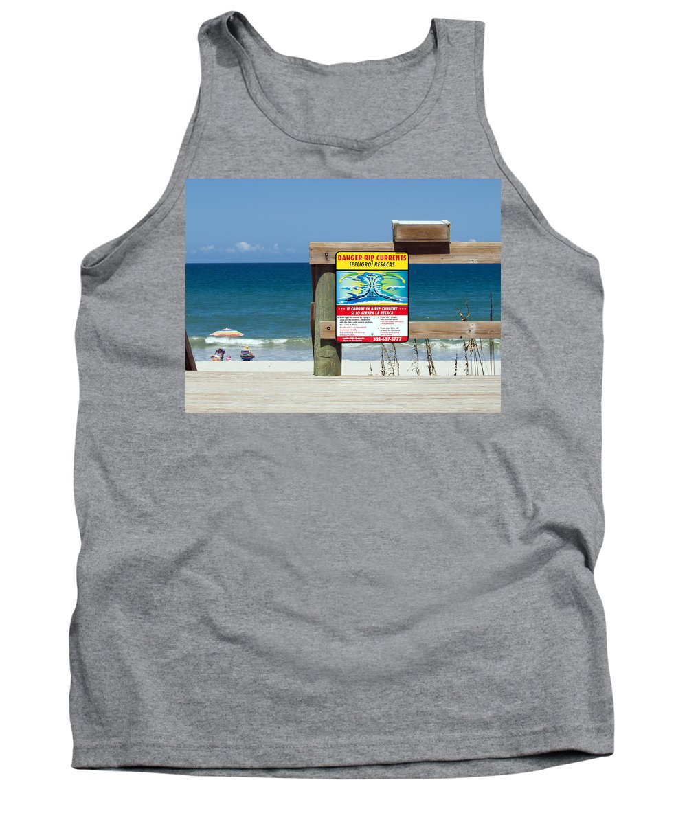 Florida; Beach; Surf; Surfing; Shore; Coast; Sand; Sandy; Waves; Summer; Central; Melbourne; Rip; Cu Tank Top featuring the photograph Central Florida Beach Warning by Allan Hughes