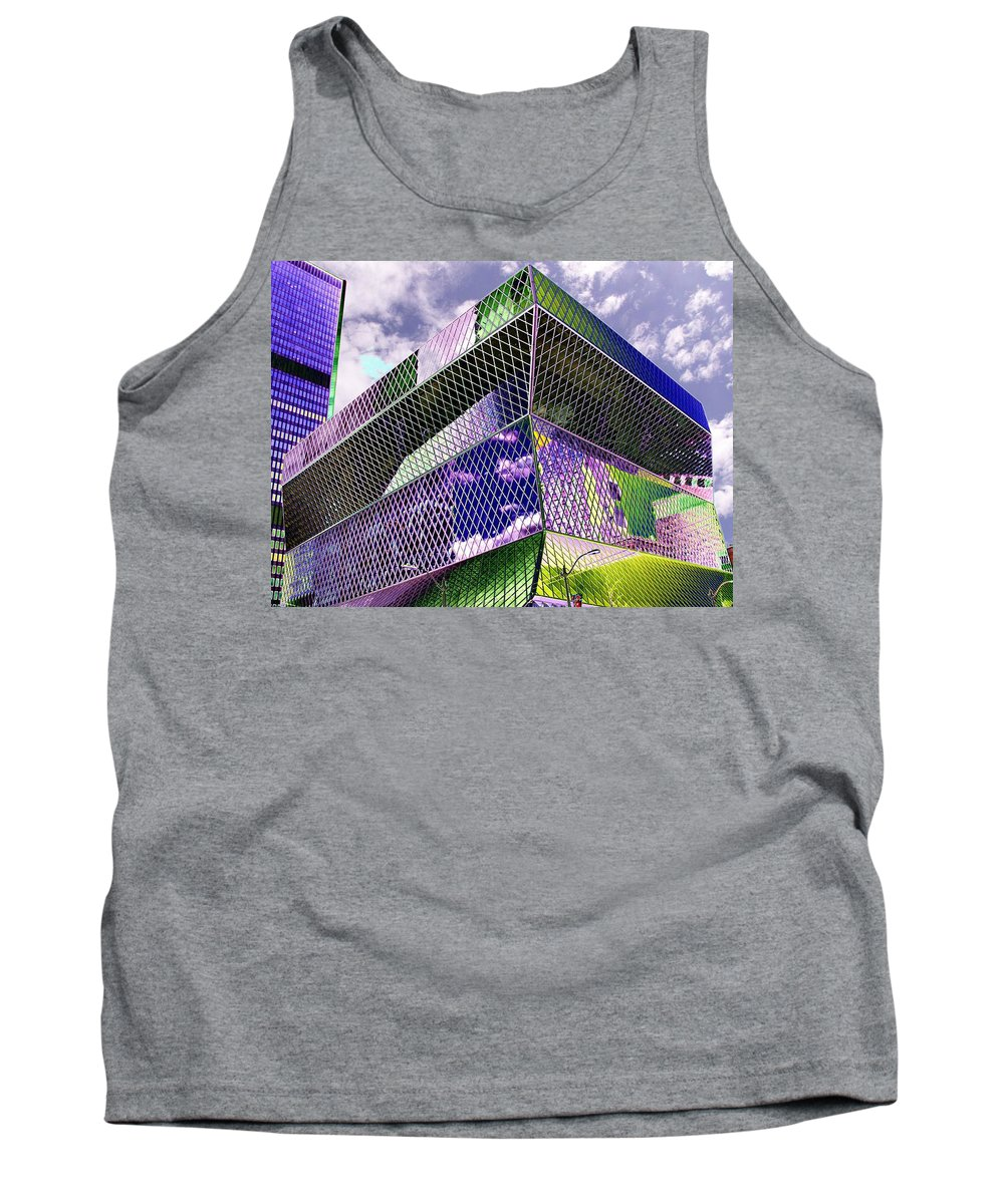 Seattle Tank Top featuring the digital art Central Library Seattle by Tim Allen