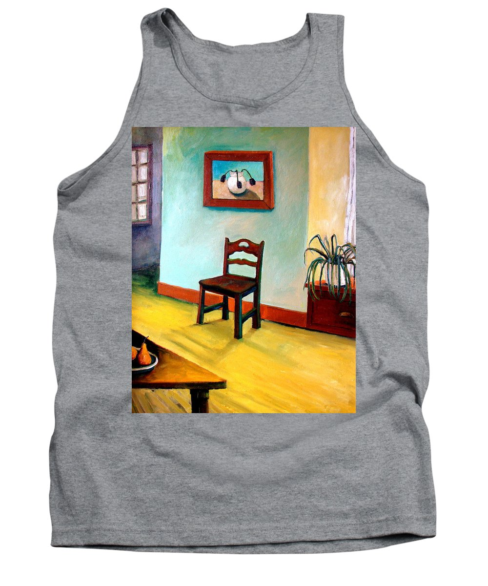 Apartment Tank Top featuring the painting Chair And Pears Interior by Michelle Calkins