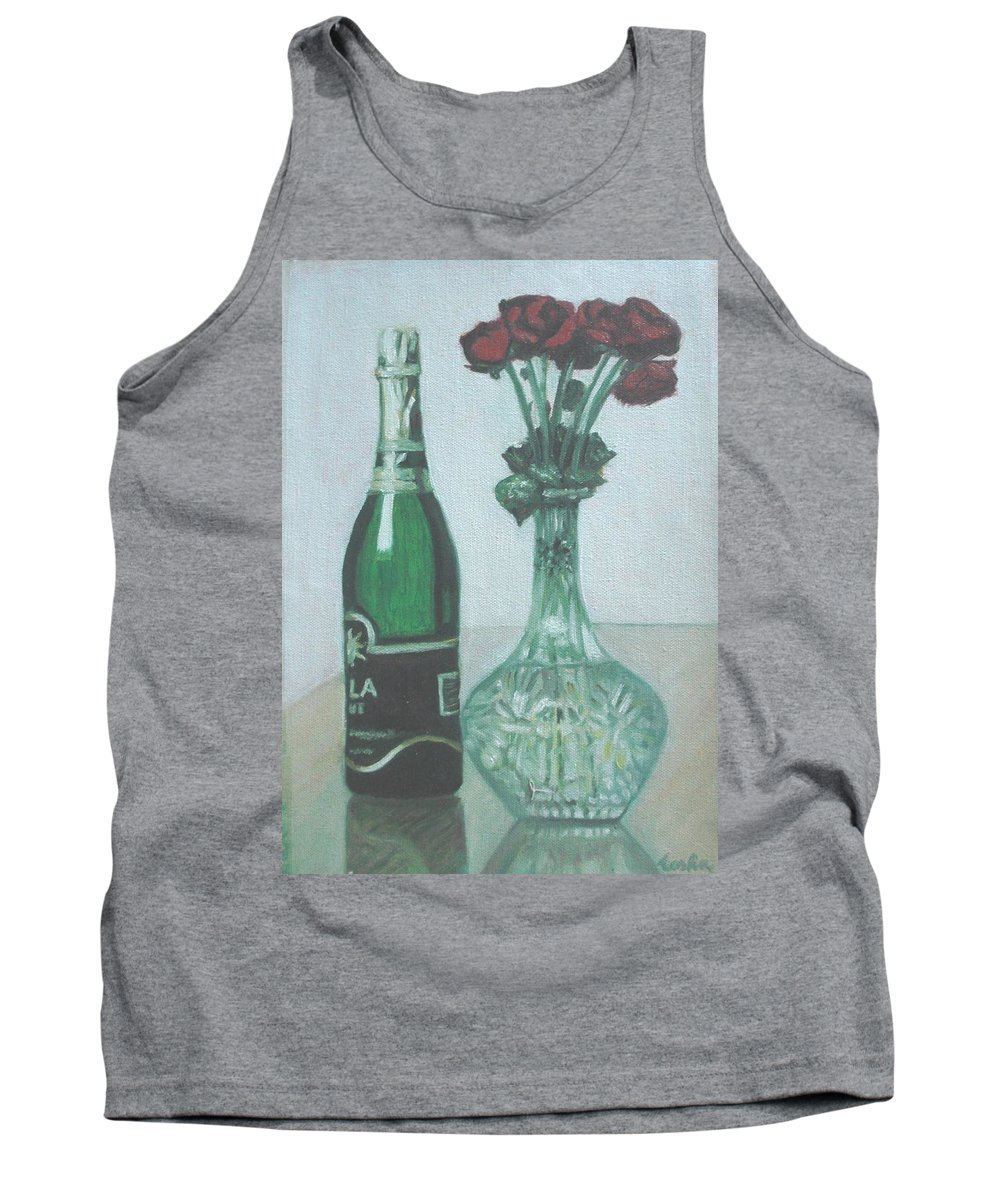 Champagne Tank Top featuring the painting Champagne And Roses by Usha Shantharam