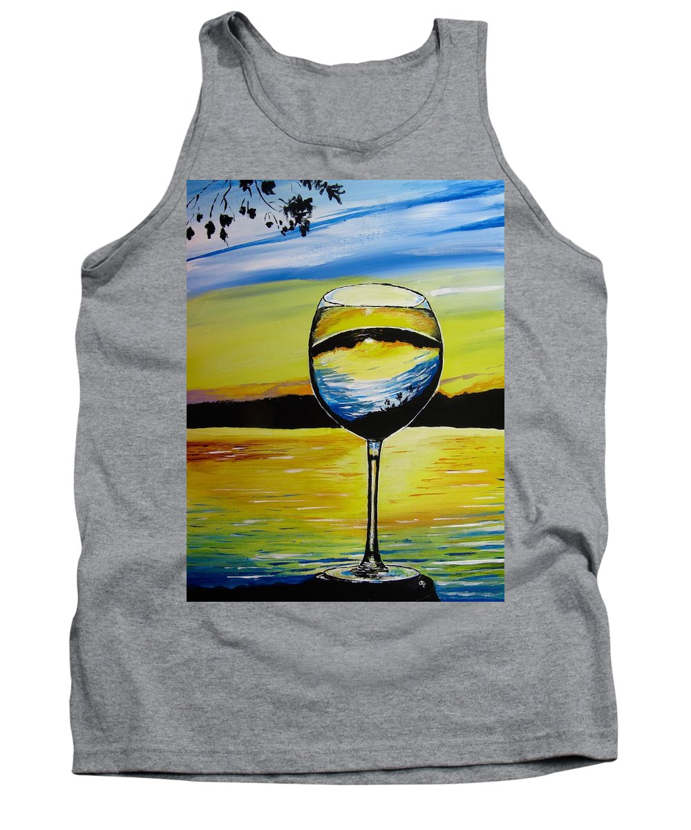 Wine Glass Painting Tank Top featuring the painting Cheers by Carol Blackhurst