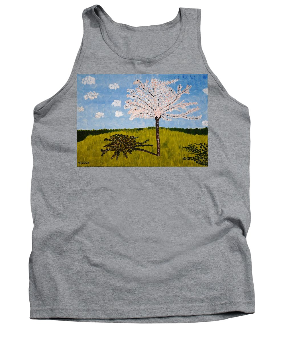 Cherry Tank Top featuring the painting Cherry Blossom Tree by Valerie Ornstein