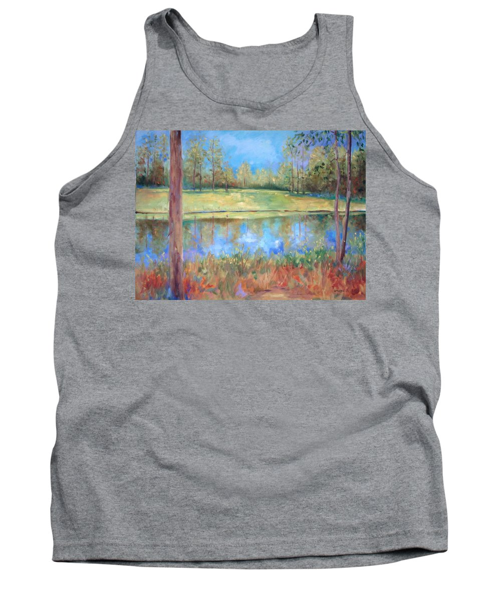 Ponds Tank Top featuring the painting Cherry Moon Pond by Ginger Concepcion