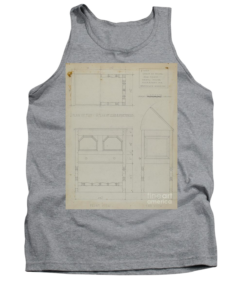 Tank Top featuring the drawing Chest On Frame by B. Holst-grubbe