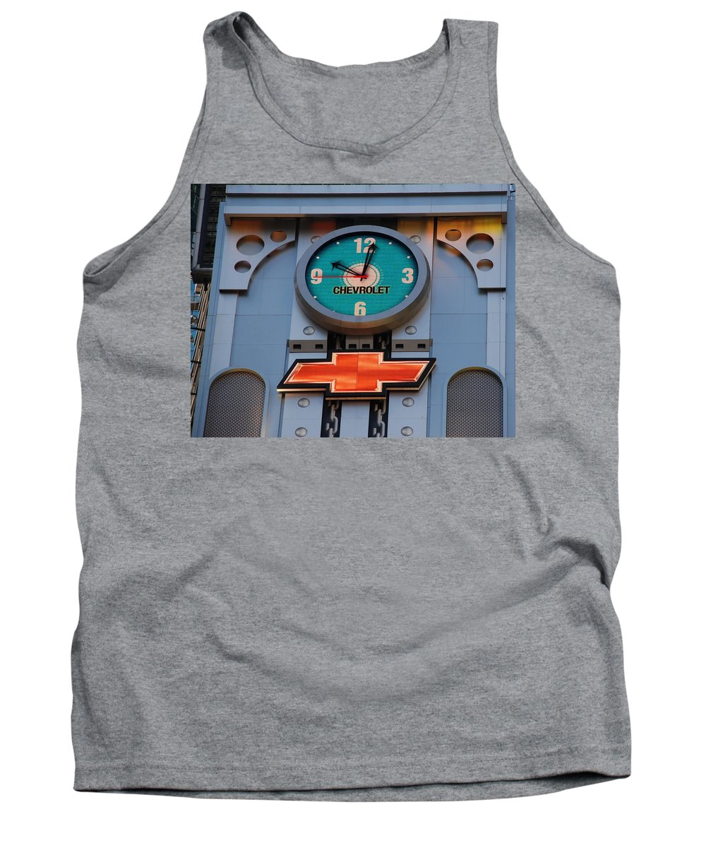 Clock Tank Top featuring the photograph Chevy Times Square Clock by Rob Hans