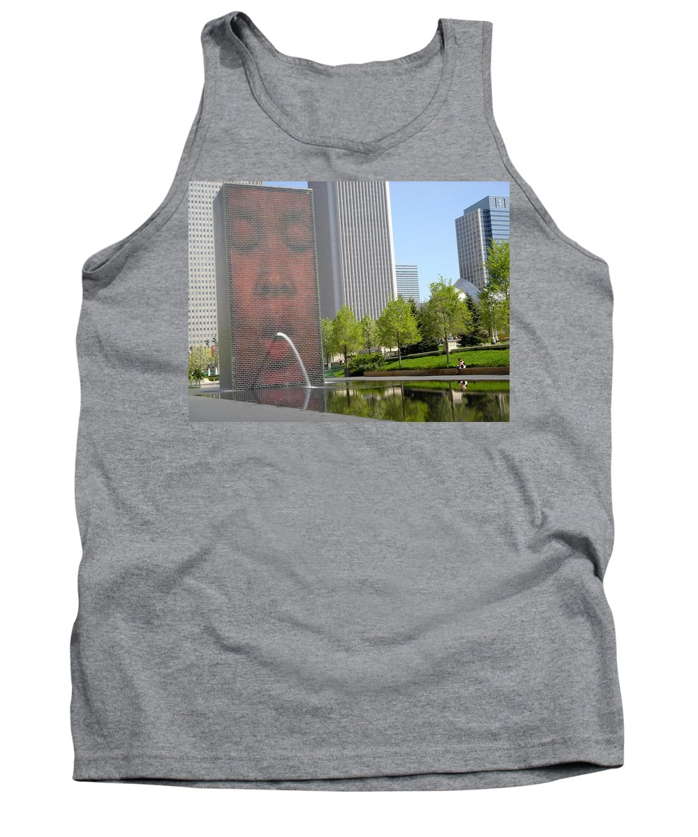 Chicago Tank Top featuring the photograph Chicago Crown Fountain 8 by Jean Macaluso