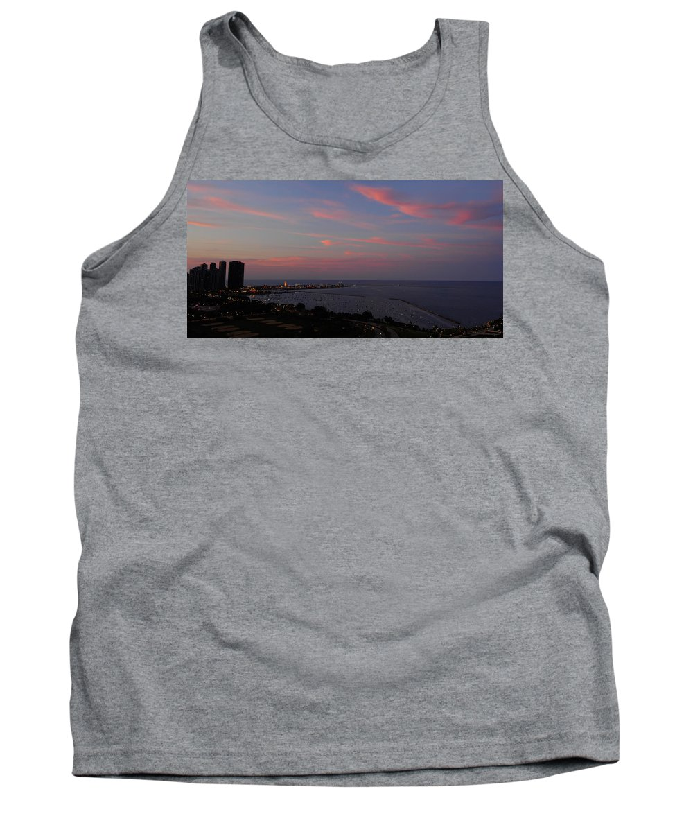 Chicago Tank Top featuring the photograph Chicago Lakefront At Sunset by Michael Bessler