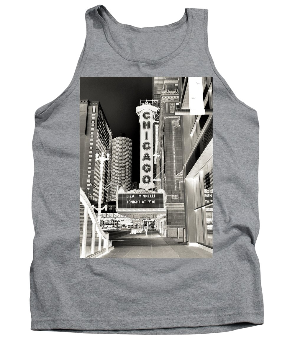 Chicago Theater Marquee Tank Top featuring the photograph Chicago Theater - 2 by Ely Arsha