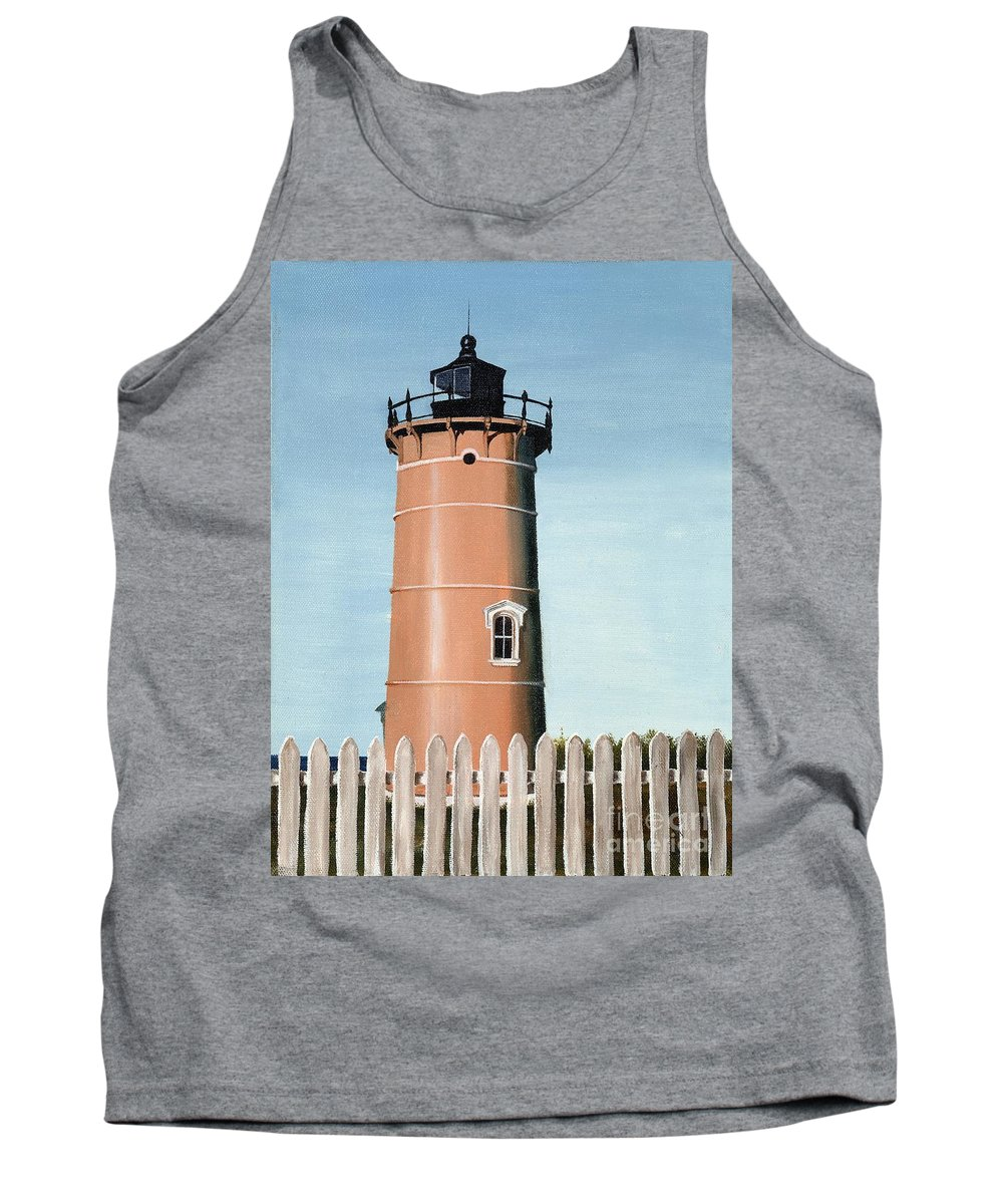 Lighthouse Tank Top featuring the painting Chocolate Lighthouse by Mary Rogers