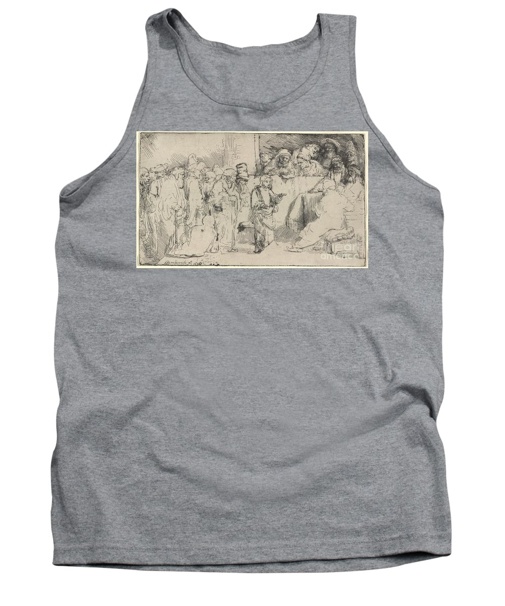 Tank Top featuring the drawing Christ Disputing With The Doctors: A Sketch by Rembrandt Van Rijn