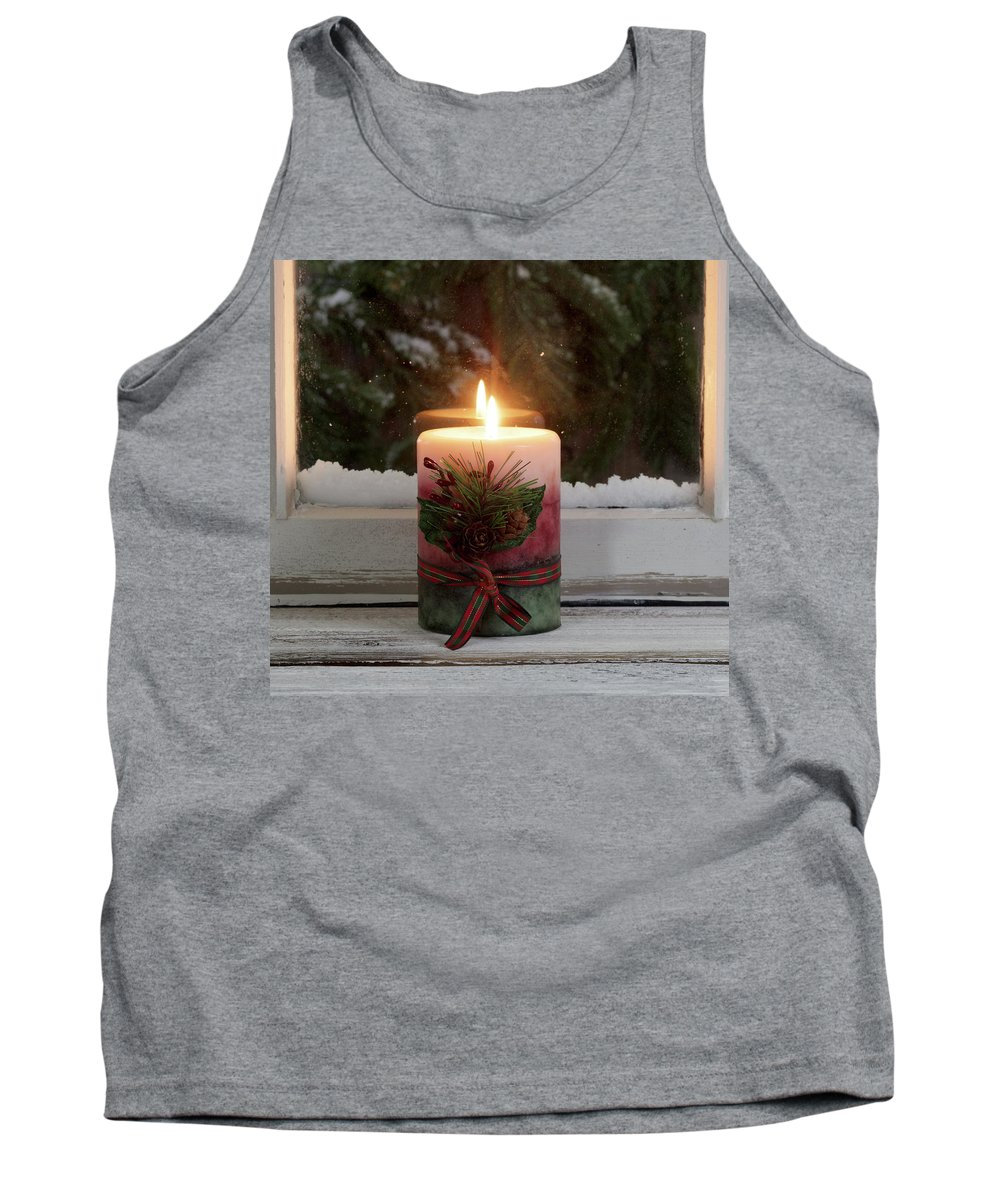 Christmas Tank Top featuring the photograph Christmas Candle Glowing On Window Sill With Snowy Evergreen Bra by Thomas Baker