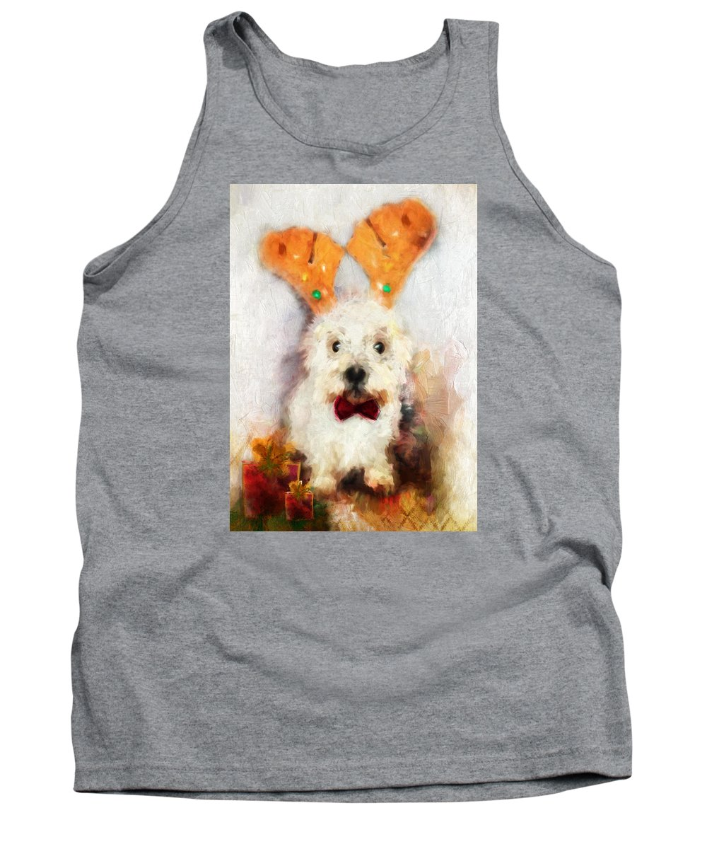 Christmas Tank Top featuring the painting Christmas Westie by Christina VanGinkel