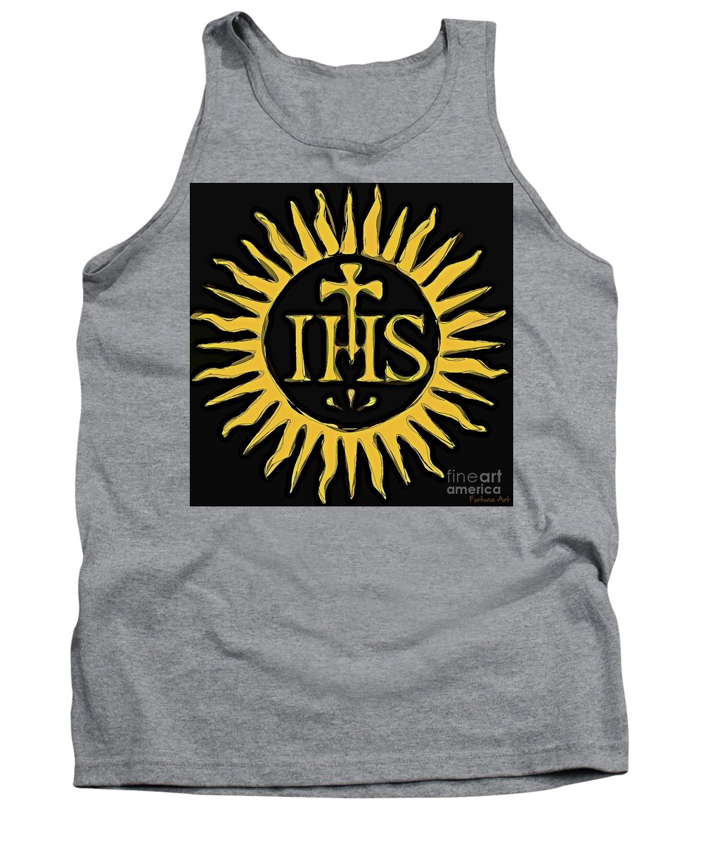 Digital Painting Tank Top featuring the digital art Christogram Ihs by Dragica Micki Fortuna