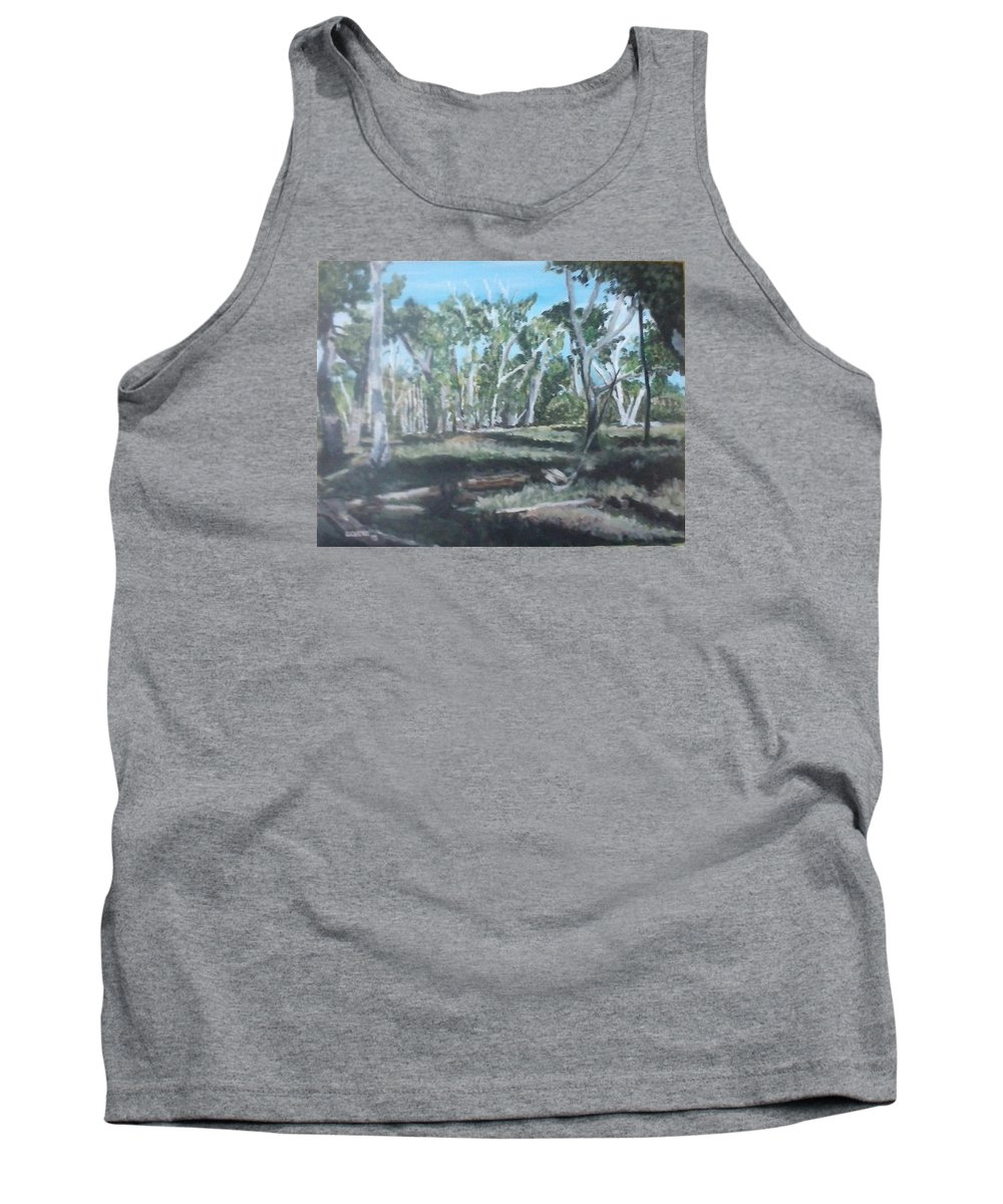 Woods Tank Top featuring the painting Cimmeron Grasslands by Robert Levene