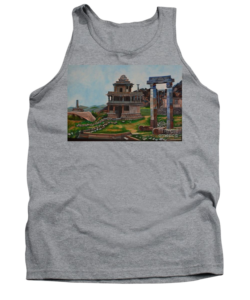 Landscape Tank Top featuring the painting Cithradurga Fort by Usha Rai