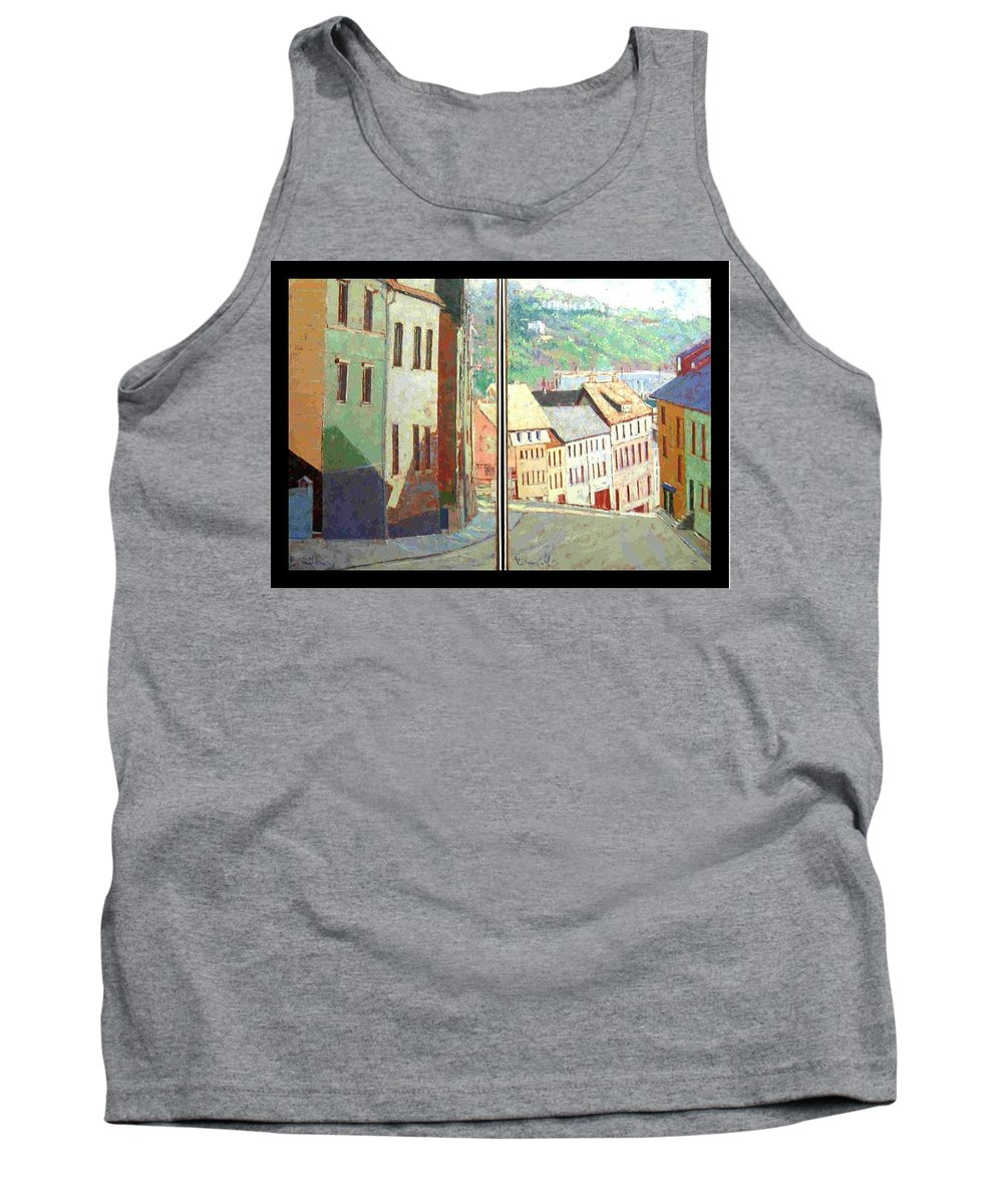Buildings Tank Top featuring the painting City Scape-dyptich by Walter Casaravilla