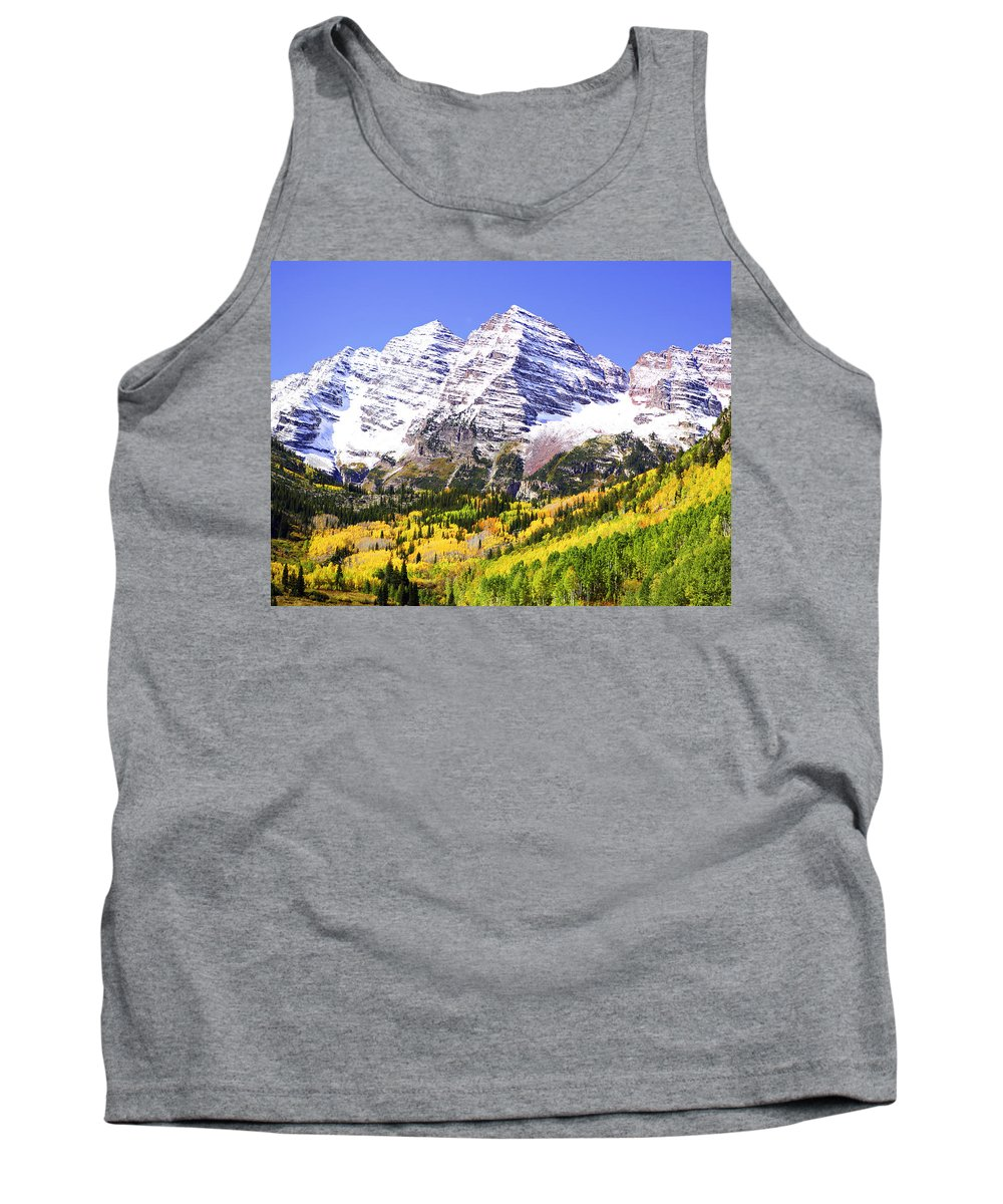 Americana Tank Top featuring the photograph Classic Maroon Bells by Marilyn Hunt