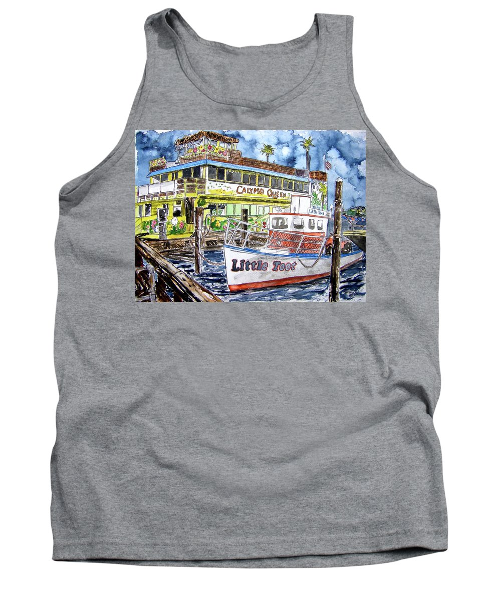 Seascape Tank Top featuring the painting Clearwater Florida Boat Painting by Derek Mccrea
