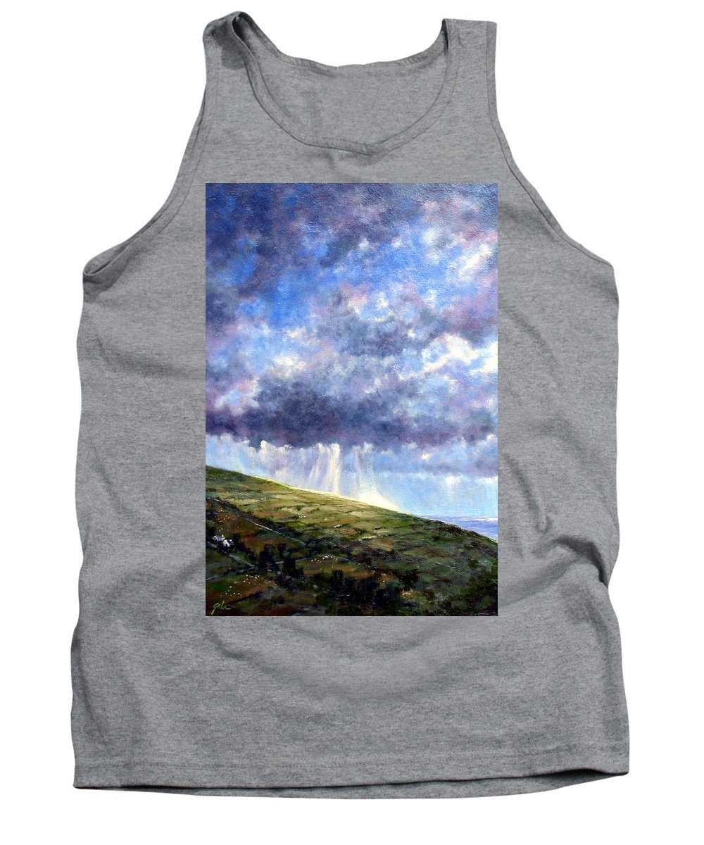 Oil Painting Tank Top featuring the painting Cloud Burst Ireland by Jim Gola