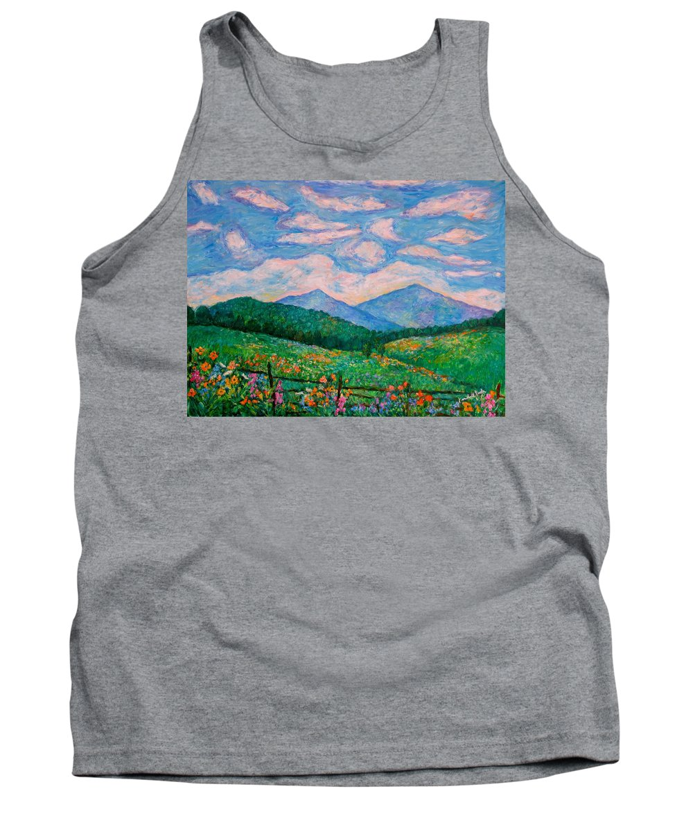 Kendall Kessler Tank Top featuring the painting Cloud Swirl over The Peaks of Otter by Kendall Kessler